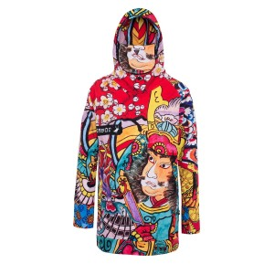 Konnichiwa snowboard hoodie with water repellent finish and mask